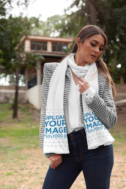 Mockup of a Stylish Woman Wearing a Scarf in a Garden 25683