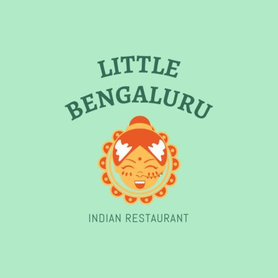 Restaurant Logo Generator with an Indian Girl Cartoon 1828e