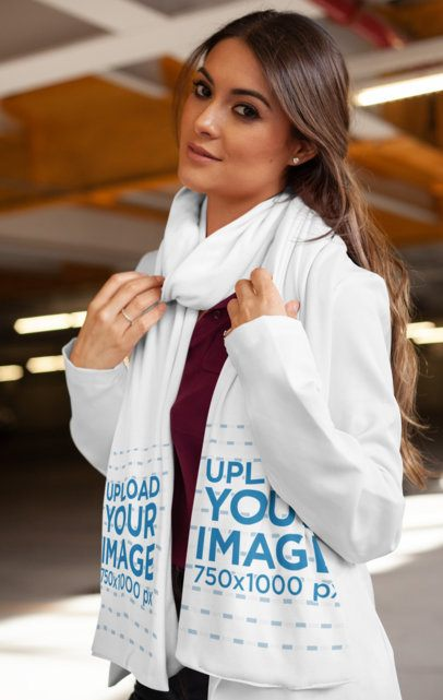 Mockup of a Long-Haired Girl with Gorgeous Eyes Wearing a Scarf 25685