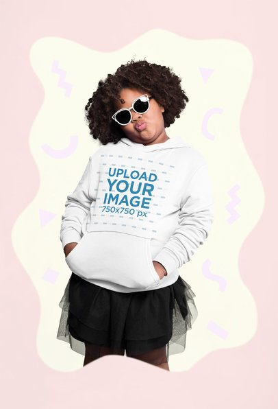Plus Size Pullover Hoodie Mockup of a Girl with Sunglasses Making a Duckface 25587