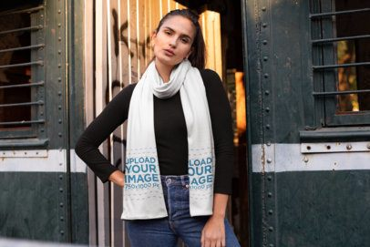 Scarf Mockup of a Woman Standing by an Open Metal Door 25667