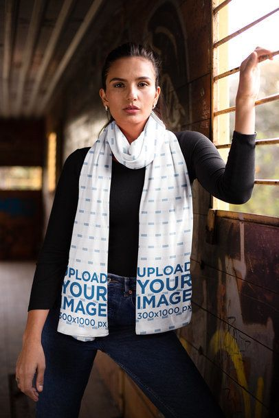 Scarf Mockup Featuring a Woman Holding onto a Window Bar 25668