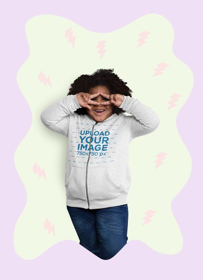 Full-Zip Hoodie Mockup of an Afro-Haired Girl Making a Double Peace Sign 25583
