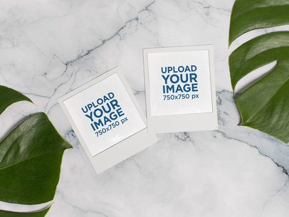 Mockup of Multiple Polaroid Frames over a Marble Surface 26157