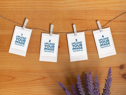 Mockup of a Four-Set Instax Mini Polaroid Picture Frames Hanging with a Clothespin 26162