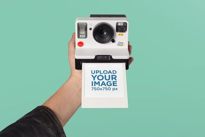 Polaroid Frame Mockup featuring a Retro Camera Against a Solid Background 26168