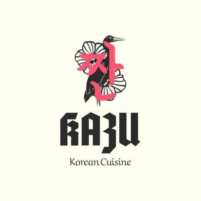 Korean Restaurant Logo Maker with Crane Clipart 1920a