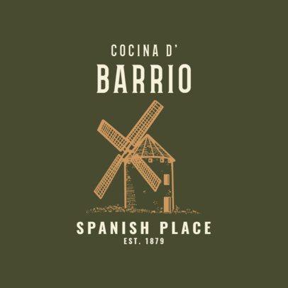 Vintage Spanish Food Logo Maker with Windmill Graphics 1918b