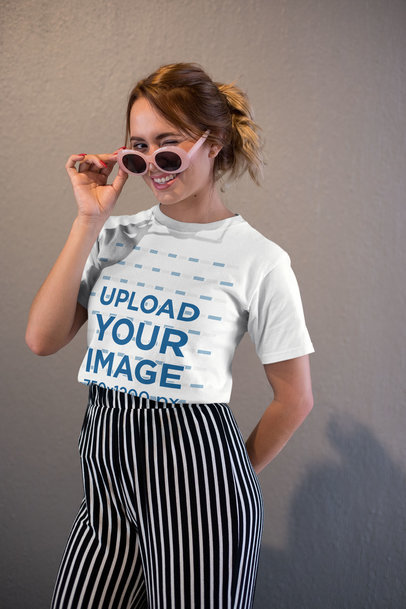 Tee Mockup of a Girl with Cool Sunglasses Winking 26641