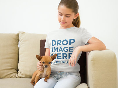 T-Shirt Mockup of a Young Girl with her Dog at Home a7940