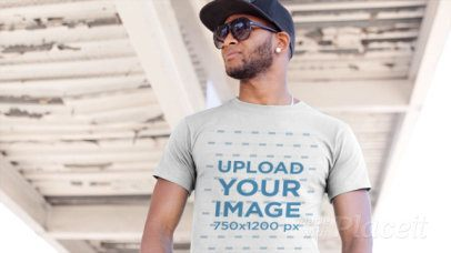 T-Shirt Video of a Handsome Man with Sunglasses 12874