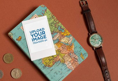 Instax Frame Mockup Featuring a Vintage Traveling Kit 26177