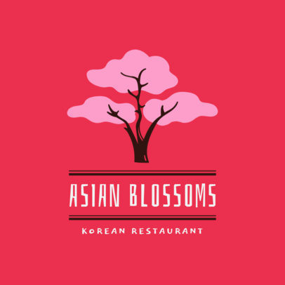 Korean Restaurant Logo Maker with a Tree Clipart 1922a