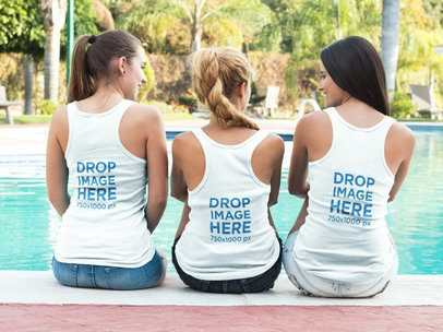Tank Top Mockup of Three Friends Sitting by a Pool a8005
