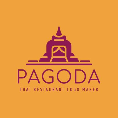 Thai Cuisine Logo Template with Cultural Graphics 1840b