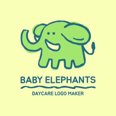Day Care Logo Maker with Elephant Illustrations 1927c