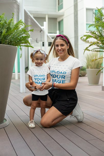 T-Shirt Mockup of a Cool Mom with Her Little Girl 26497