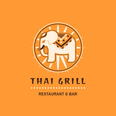 Thai Food Logo Maker with an Elephant Clipart 1837b