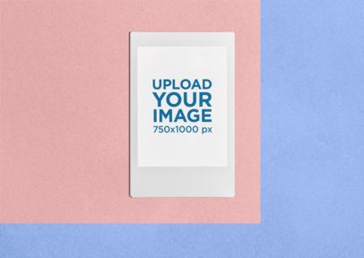 Instax Frame Mockup over a Colorful Geometrical Surface 26311