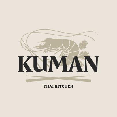 Logo Maker for a Thai Kitchen with a Shrimp Clipart 1845a