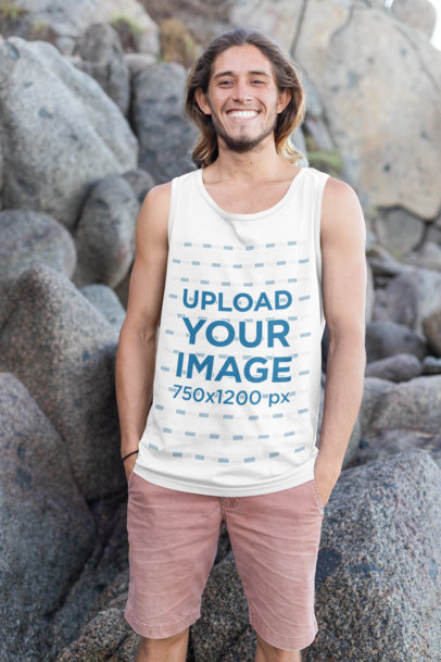 Mockup of a Cool Man Wearing a Tank Top on the Beach 26746