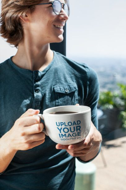 Coffee Mug Mockup of a Handsome Man Looking Out Through the Window 26506