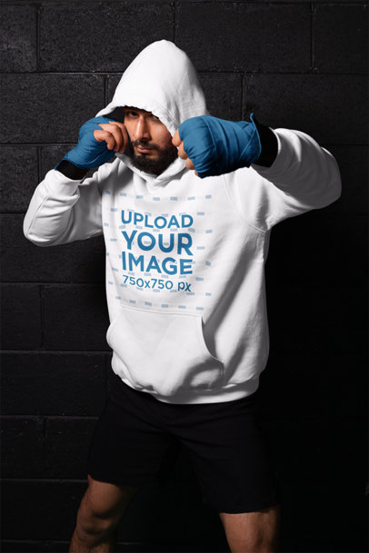 Hoodie Mockup of a Man Shadowboxing 26249