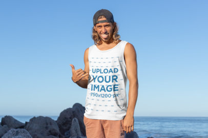 Mockup of a Funny Man Wearing a Tank Top at The Beach 26747