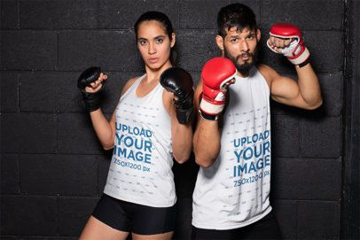 Mockup of a Male and a Female MMA Fighters Wearing Tank Tops 26265