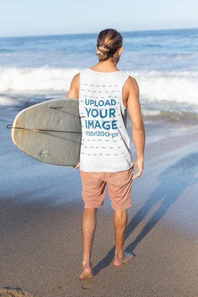 Tank Top Mockup of a Surfer Man About to Get into the Sea 26753