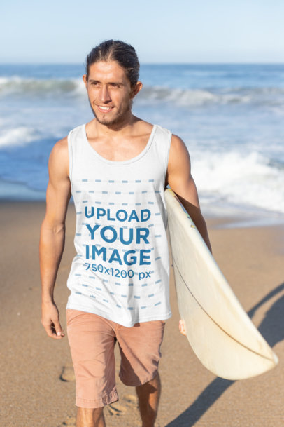 Tank Top Mockup of a Surfer Man Carrying His Board at the Beach 26756
