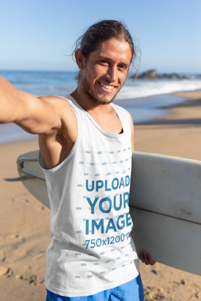 Tank Top Mockup of a Surfer Man's Selfie at the Beach 26760