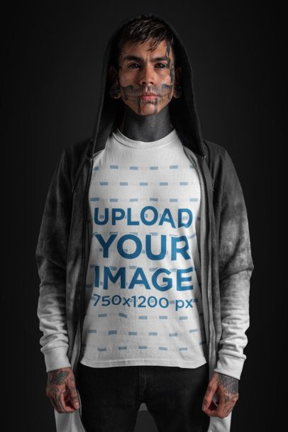 T-Shirt Mockup of a Tattooed-Face Goth Man Wearing a Hooded Jacket 26596
