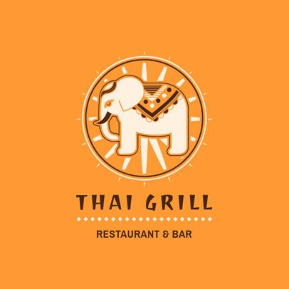 Thai Food Logo Maker with an Elephant Clipart 1837b