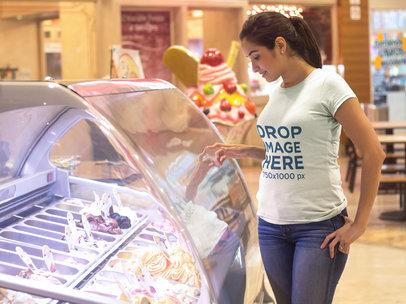Young Woman at an Ice-cream Parlor T-Shirt Mockup a8042