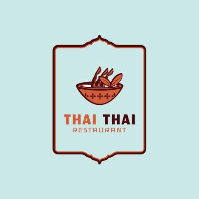 Simple Thai Restaurant Logo Maker with Soup Clipart 1841c