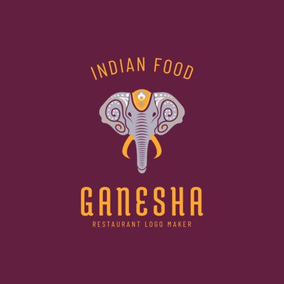 Indian Restaurant Logo Maker with Ganesha Clipart 1836d