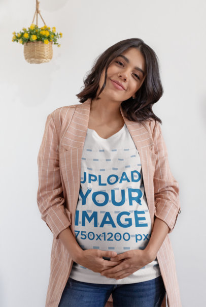 Mockup of a Happy Woman Wearing a Pregnancy T-Shirt 26672