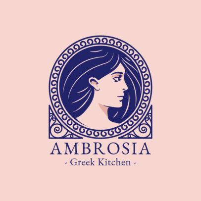Elegant Logo Template for a Greek Kitchen Restaurant 1914a