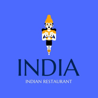 Logo Maker for an Indian Food Restaurant with a Krishna Illustration 1831a