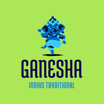 Traditional Indian Restaurant Logo Maker Featuring Ganesha Clipart 1831c