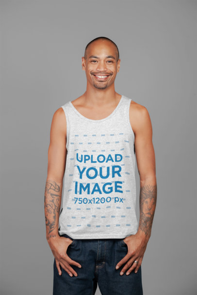Heather Tank Top Mockup of a Smiling Tattooed Man Posing at a Studio 23946
