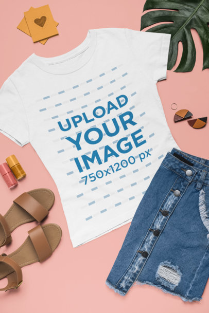 T-Shirt Mockup of a Fresh Flat-Layed Outfit 1634
