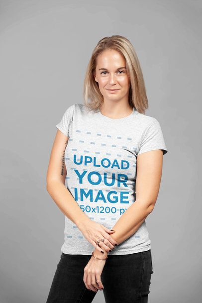 Heather T-Shirt Mockup of a Blonde Woman in a Relaxed Pose 23940