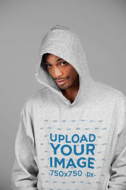 Heather Hoodie Mockup of a Man Smirking at the Camera 23949