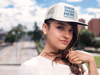 Young Woman Walking Through a Pedestrian Bridge Hat Mockup a7652