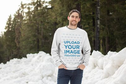 Sweatshirt Mockup of a Man at a Snowy Mountain 25101