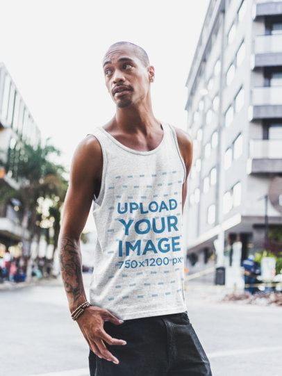 Mockup of a Tall Man Wearing a Tank Top in the City 23999