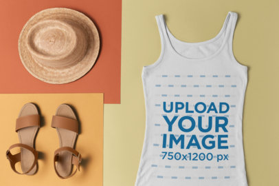 Mockup of a Slouchy Tank Top with a Straw Hat and Sandals 26553