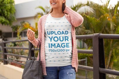Tee Mockup of a Fashionable Pregnant Woman over a Small Bridge 26660